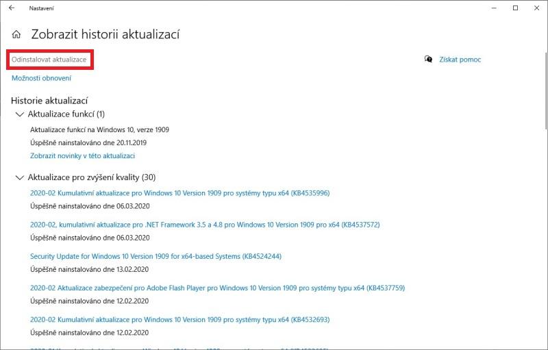 Jak odinstalovat aktualizaci Windows 10 - 4