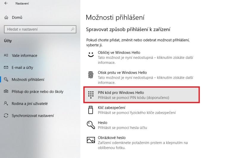 Jak vypnout PIN ve Windows 10