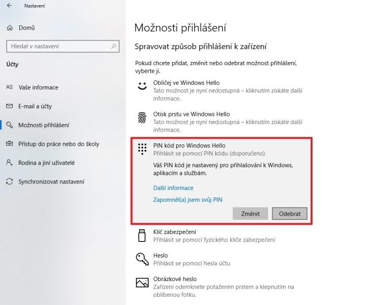 Jak vypnout PIN ve Windows 10 - 2