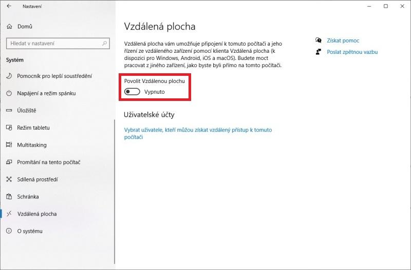 Vzdálená plocha Windows 10 - 1