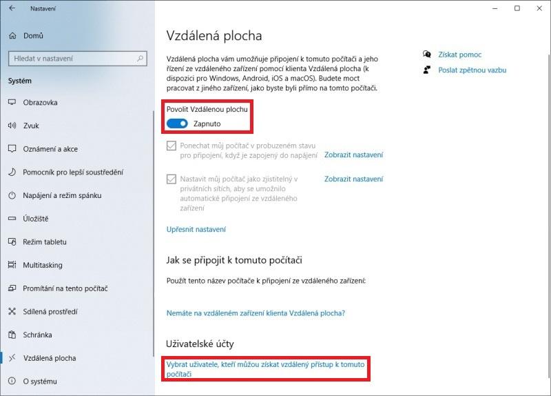 Vzdálená plocha Windows 10 - 3