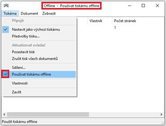 Používat tiskárnu offline