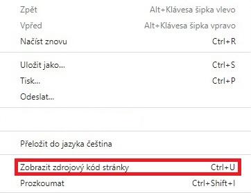 Zdrojový kód stránky - Chrome