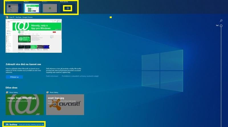 Virtuální plocha Windows 10
