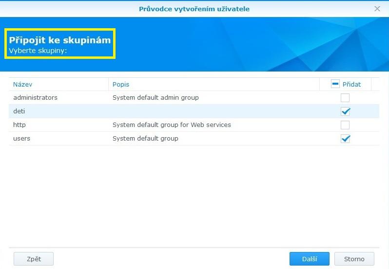 Jak vytvořit uživatele na Synology NAS 03
