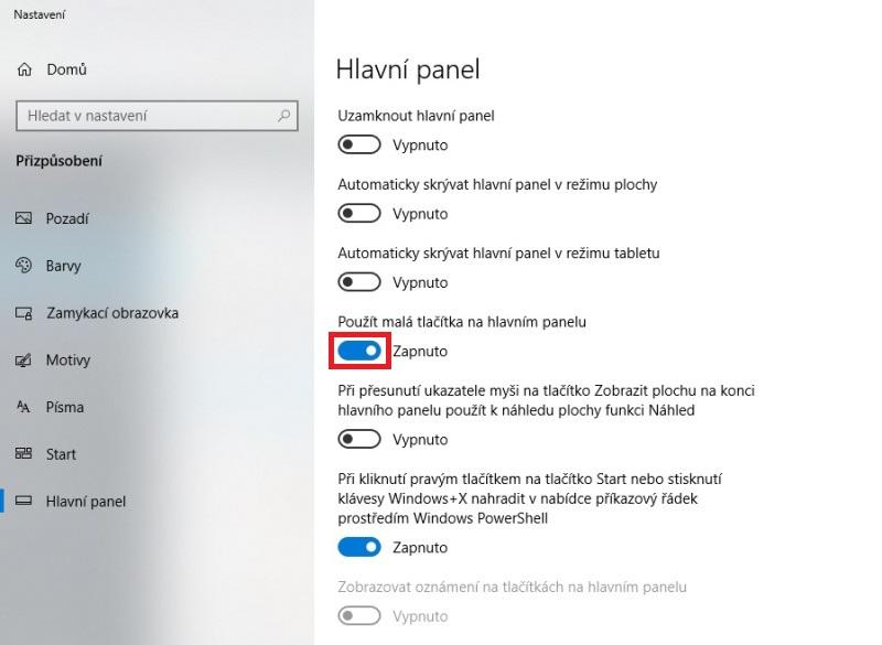 Malá tlačítka (ikony) na hlavním panelu Windows 10