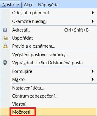 Outlook komprimace PST 1