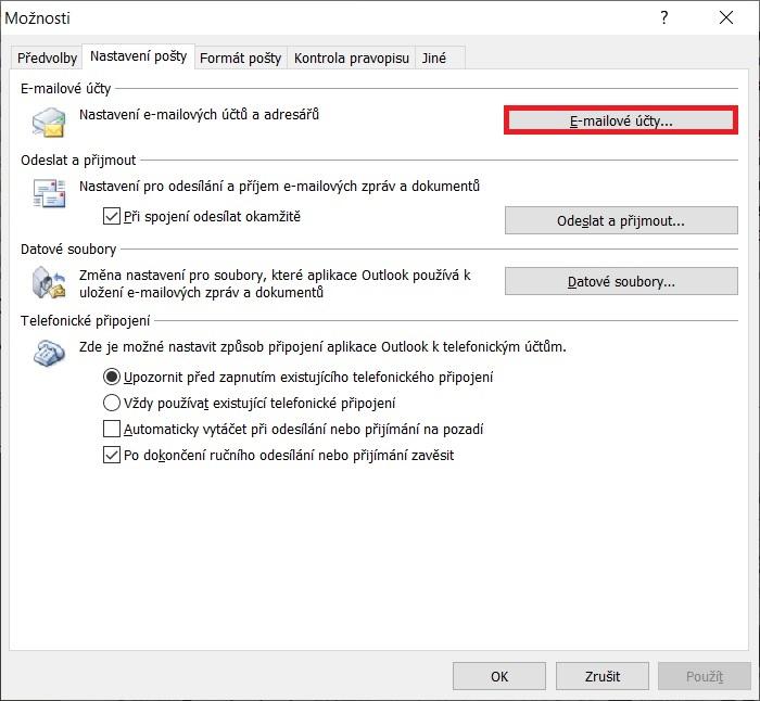 Outlook komprimace PST 2
