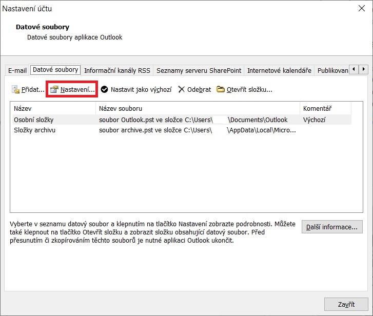 Outlook komprimace PST 3