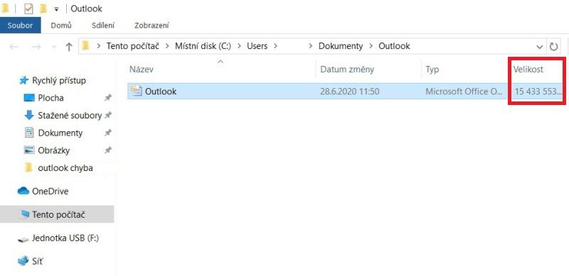 Outlook komprimace PST 4