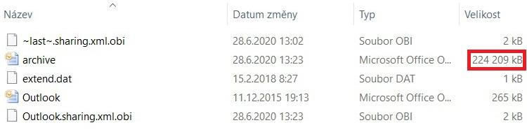 Outlook komprimace PST 8