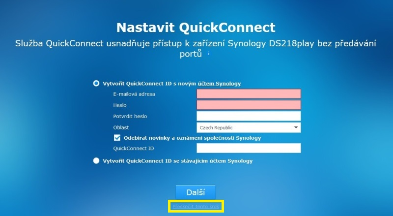 Synology Diskstation Manager instalace 08