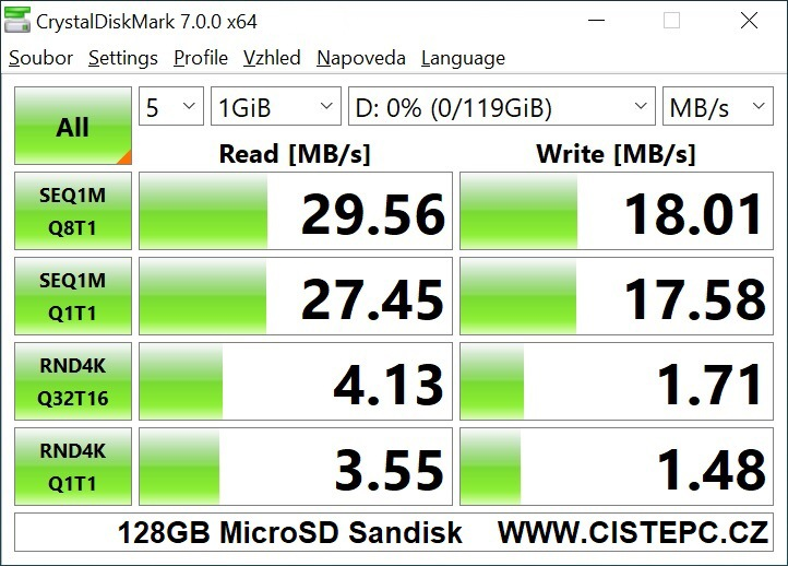 128GB microSD karta Sandisk - CrystalDiskMark