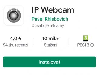 IP webcam aplikace