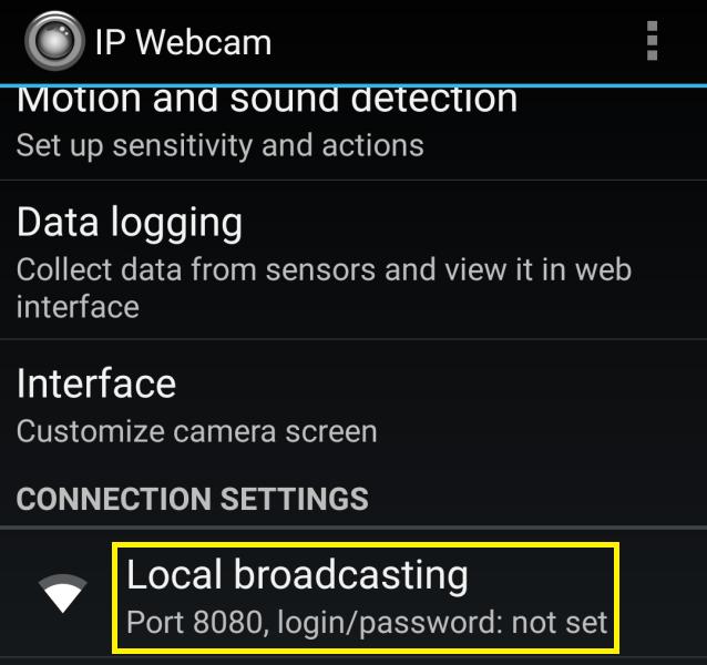 IP webcam aplikace 2