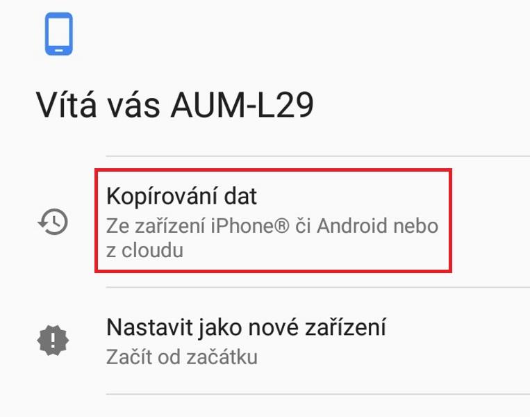 Kopírování dat z cloudu v android mobilu
