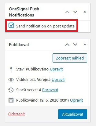 One Signal Push notifikace WordPress