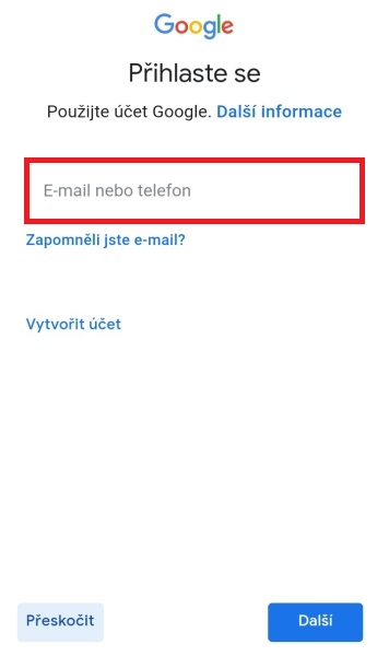 Přihlášení do google na mobilu