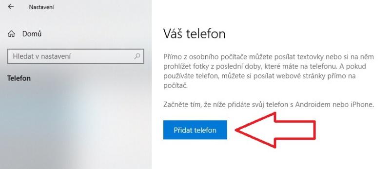 Propojení mobilu Android s Windows 10