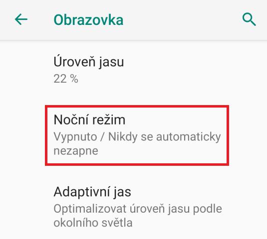 Noční režim na mobilu
