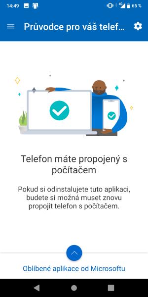 propojený telefon s počítačem
