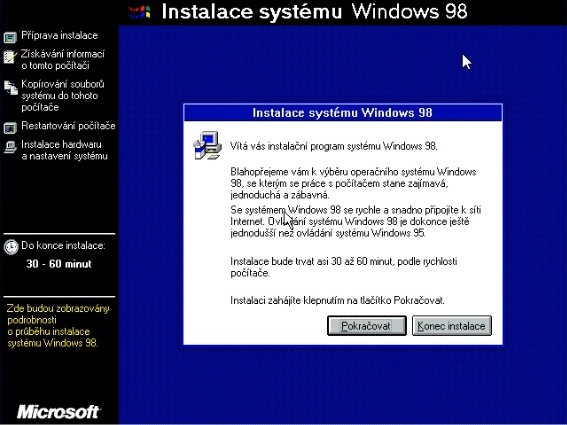Windows 98 instalace 09