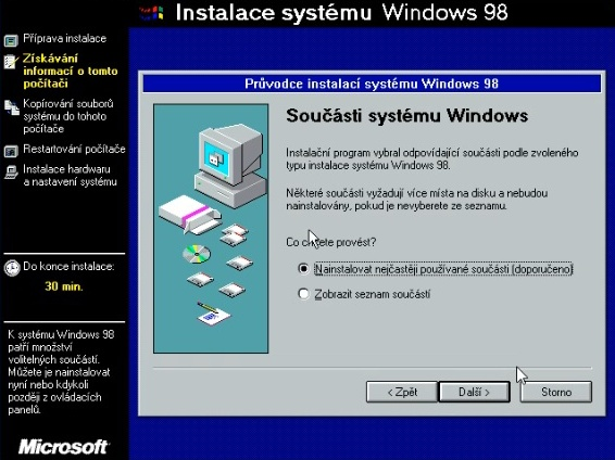 Windows 98 instalace 12