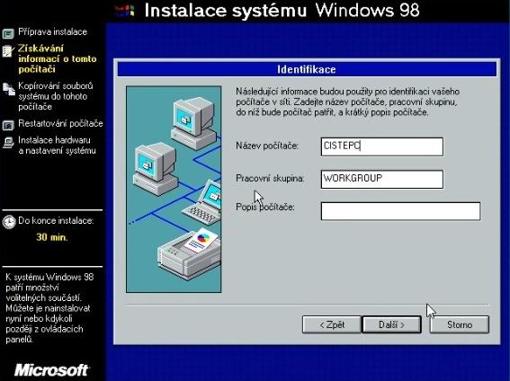 Windows 98 instalace 13