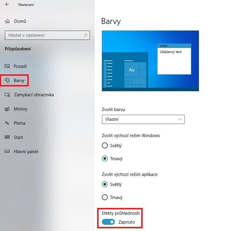 Průhlednost Windows 10