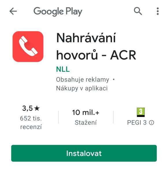 ACR - aplikace na nahrávání hovorů