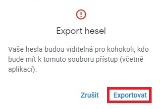 Chrome export hesel 3