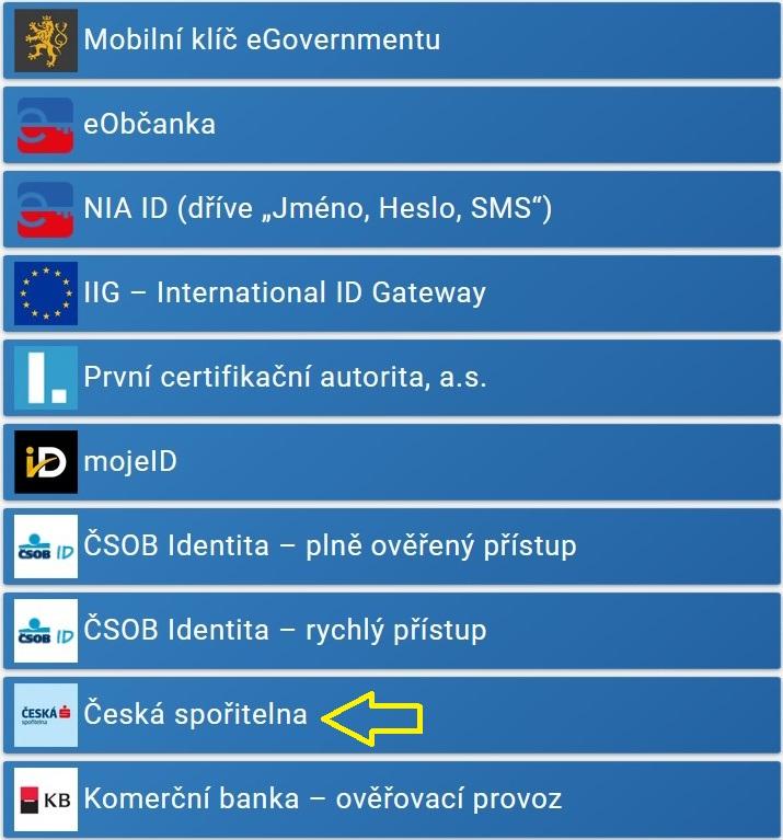 Portál občana - možnosti přihlášení
