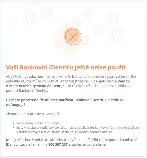 Vaši bankovní identitu ještě nelze použít