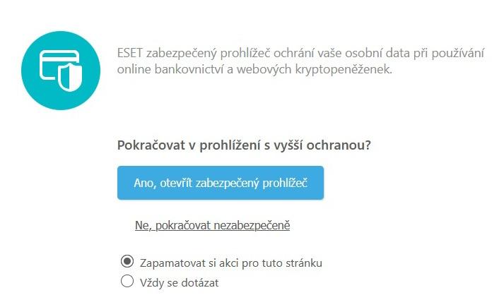 ESET zabezpečený prohlížeč