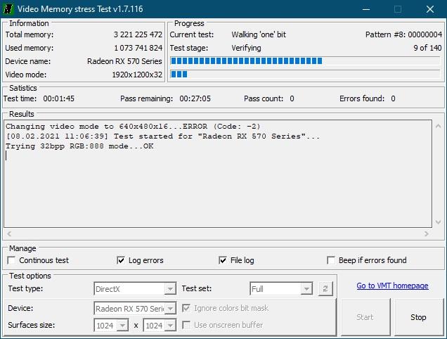 Video memory stress test 2