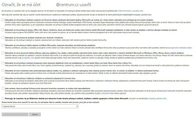 Jak zrušit účet Microsoft 02