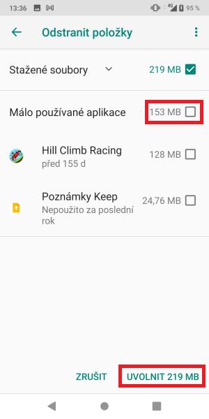 Jak uvolnit místo v mobilu Asus 5