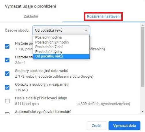 Historie Google Chrome - mazání - rozšířená nastavení