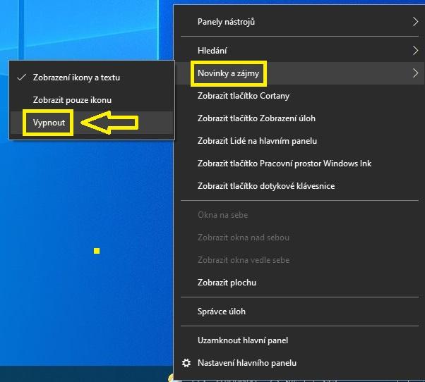 Jak vypnout počasí na hlavním panelu Windows 10 - 2