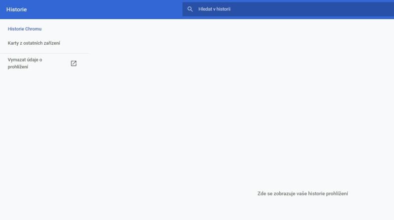 Smazaná historie prohlížeče Google Chrome