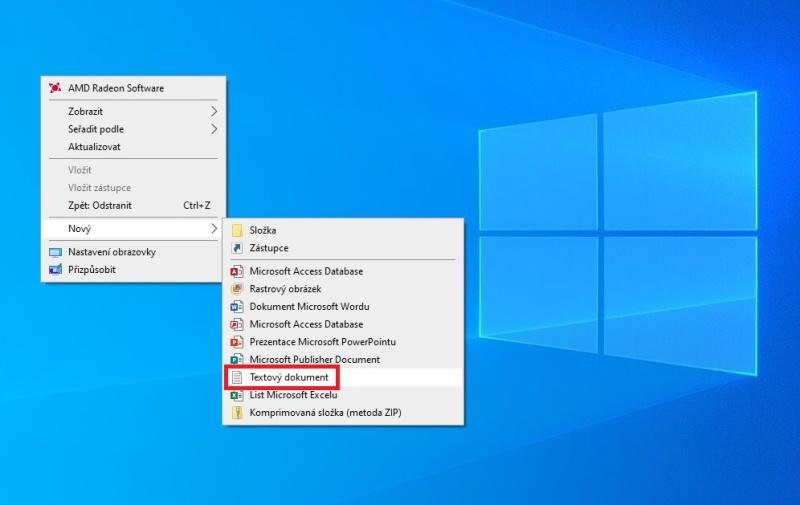 Jak vytvořit textový dokument na ploše Windows 10