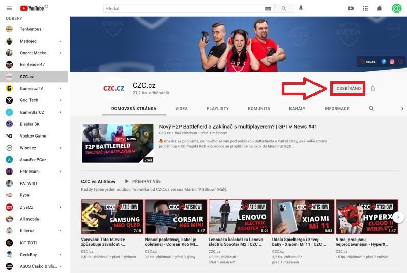 Jak zrušit odběry na Youtube 2
