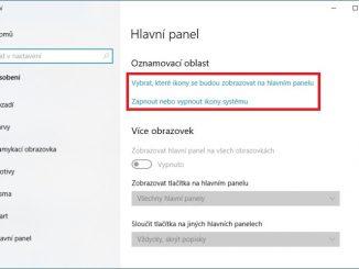 Oznamovací oblast Windows 10
