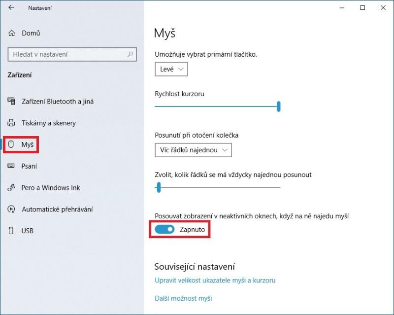 Nastavení myši ve Windows 10