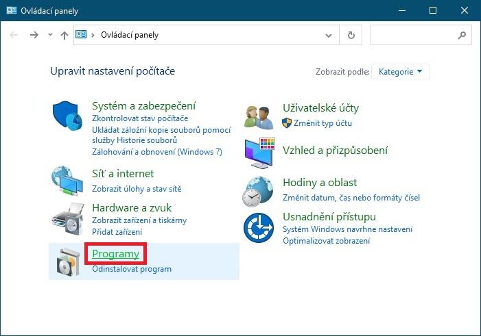 Programy v ovládacích panelech Windows 10