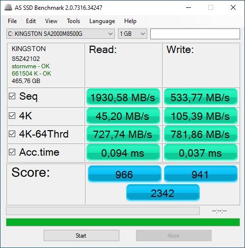 AS SSD benchmark 500GB NVME