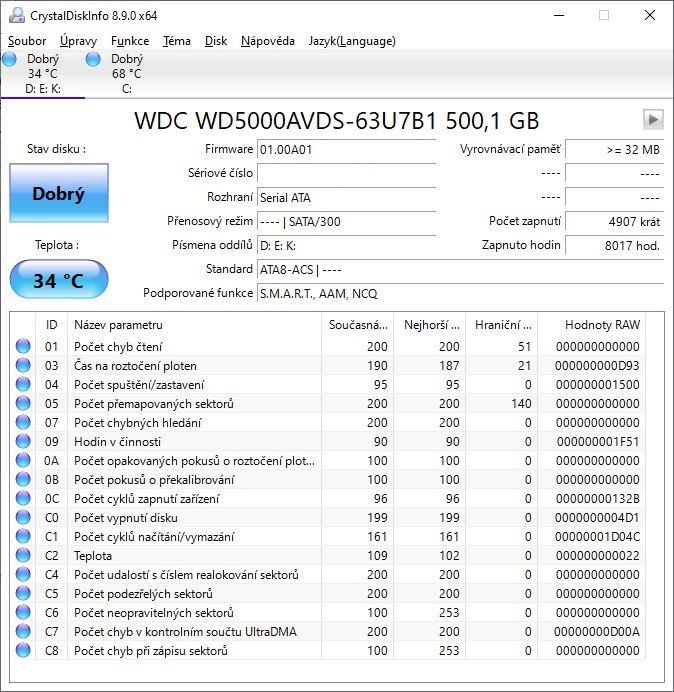 CrystalDiskInfo 500GB HDD