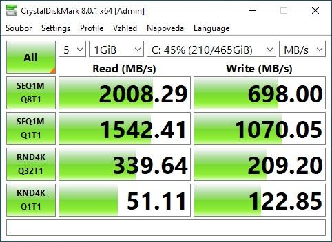 CrystalDiskMark 500GB NVME