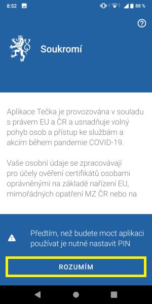 Tečka aplikace covidpass 2