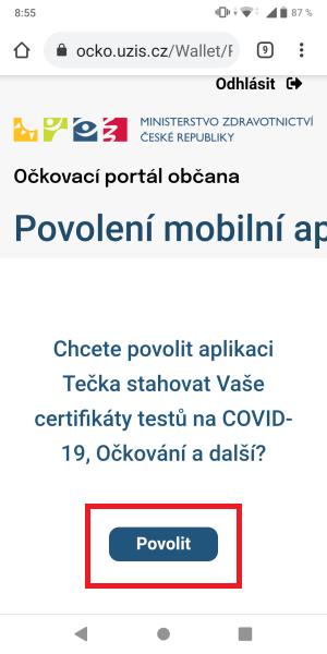 Tečka aplikace covidpass 7